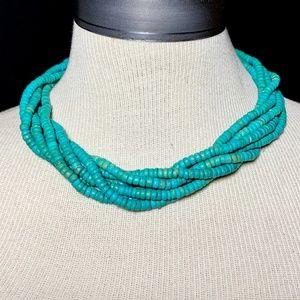 Vintage Boho Chunky Turquoise Howlite Necklace